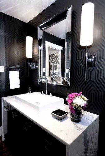 Matte black patterned wall paper with white marble & accents.