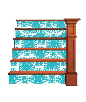 Decorate your stairs with wallpaper: Consider cheating by adhering with double-stick tape instead of glue.