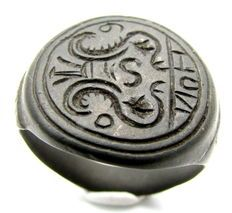 Medievale di bronzo Heraldic ring con stemma di famiglia - 21 millimetri