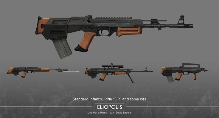Eliopolis - Standard Infantry Rifle (SIR)  It was a medium-ranged assault rifle designed to be semi-automatic, forcing soldiers to fire one ammunition at a time. This rifle combines the reliability and cost efficiency of the AK-47 with the accuracy of the M-16/AR-15. The non-metal components of the SIR were usually made of wood. The rifle also came with conversion kits which allowed the SIR to be quickly transformed.