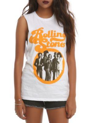 The Rolling Stones Orange Logo Muscle Girls Top