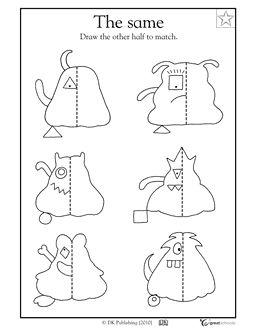 3rd grade, 4th grade Math Worksheets: Monster symmetry