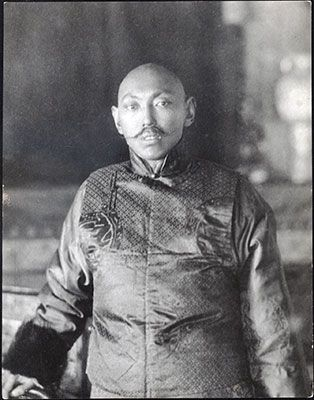 """""""Photograph of the 13th Dalai Lama. November 22nd - 23rd 1936? """" """"""""At the end of 1909 he returned to Lhasa but shortly after his arrival the Chinese invaded Lhasa with the object of securing complete..."""