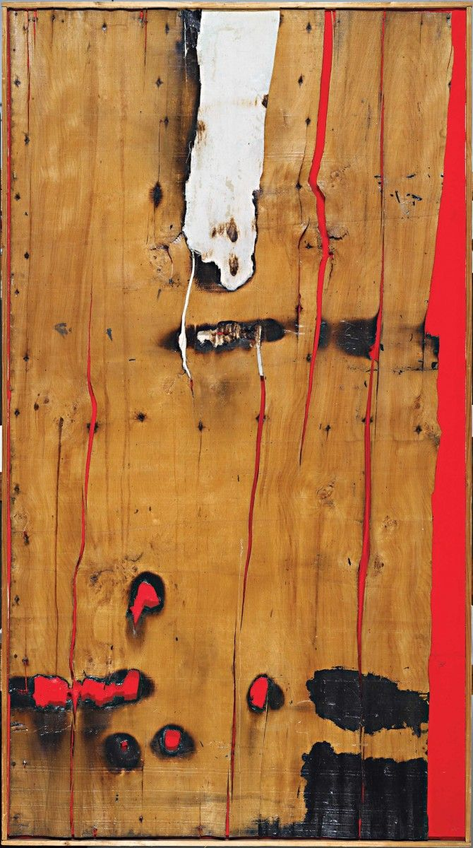 Alberto Burri, Legno e rosso 3, 1956. Painted canvas covered with lacquered bark; 62 1/2 x 34 1/2 in. Harvard Art Museum, Fogg Art Museum, gift of Mr. G David Thompson, in memory of his sonG. David Thompson, Jr., Class of 1958. Katya Kallsen © President and Fellows of Harvard College. © 2010 Artists Rights Society (ARS), New York/SIAE, Rome.