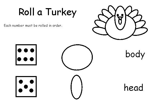 Free Thanksgiving Activities for Preschoolers | Printable Roll a Turkey Games