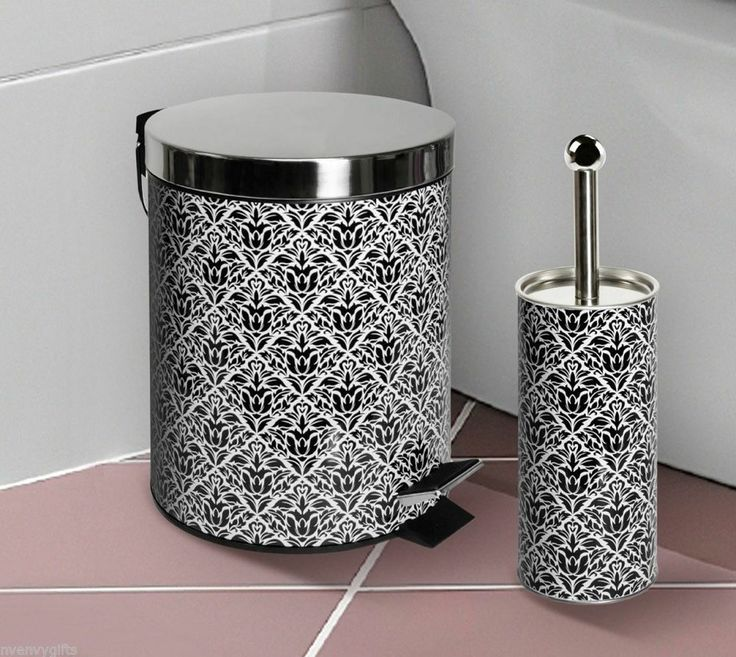 crystal bathroom accessories sets%0A Black Damask Stainless Steel Bathroom Waste Basket Trash Can  u     Toilet Brush  Set