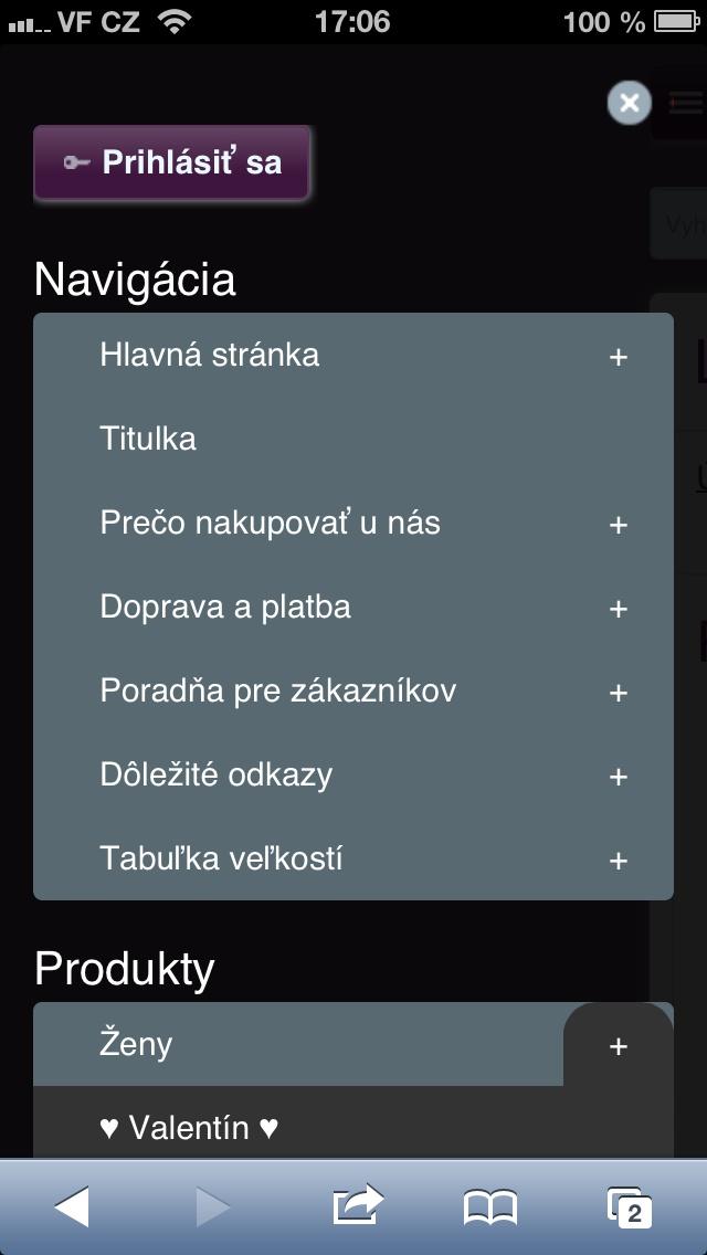 Menu je speciálně vytvořeno pro mobilní responzivní verzi. Položky v menu jsou velké a přehledné. Pokud máte eshop, sekce eshopu jsou přehledně odděleny v samostatné sekci v menu.