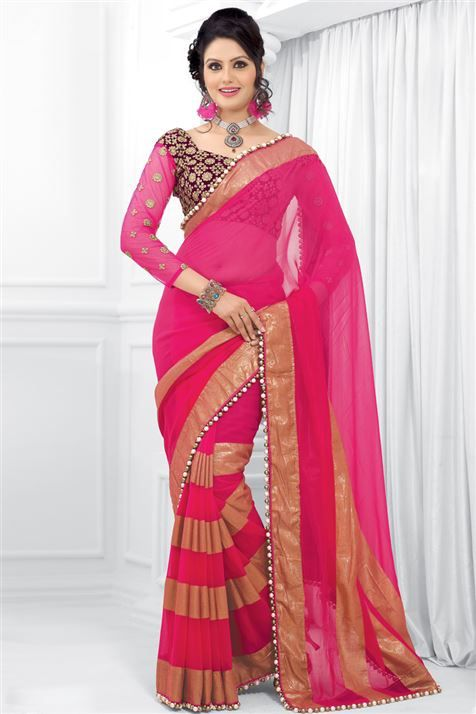 Georgette Pink, Cream Designer party wear saree