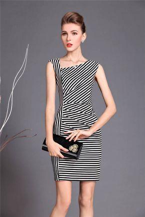 9f6d217d9e Vestido rayas estilo de calle vestido de escote irregular