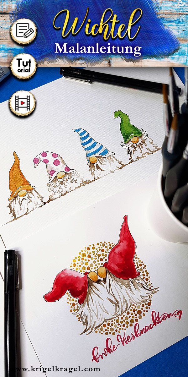 Learn to paint: gnome with watercolors and felt-tip pen – with template