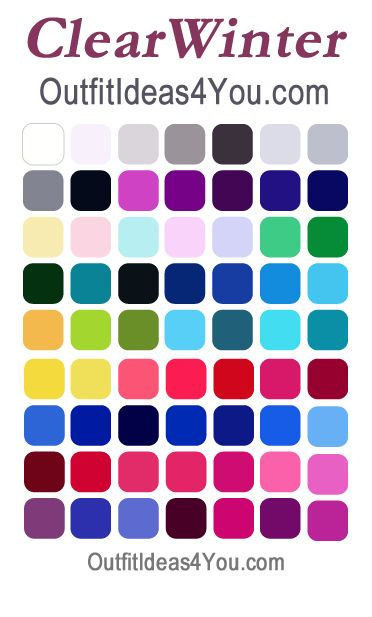 Clear Winter Seasonal Color Palette. Here are your perfect colors if you are a clear winter. Not sure what your seasonal colors are? Visit http://OutfitIdeas4You.com for your free seasonal color analysis.