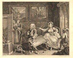 Щедро меблированная спальня;  Moll отвлекает ее богатого еврейского защитника, подвергая грудь и в то же время, опрокидывание чайного стола так, что ее возлюбленный может выскользнуть тихо вышел из комнаты;  на переднем плане маска лежит на столе, обезьянкой scampers прочь с куском кружева и черный мальчик, одетый в пернатого тюрбане и несущий серебряный чайник начинает с ужасом, как дорого фарфора разрушена;  на дальней стене картины из Ветхого Завета предметов (Ионы IV.608 и 2-я Царств…