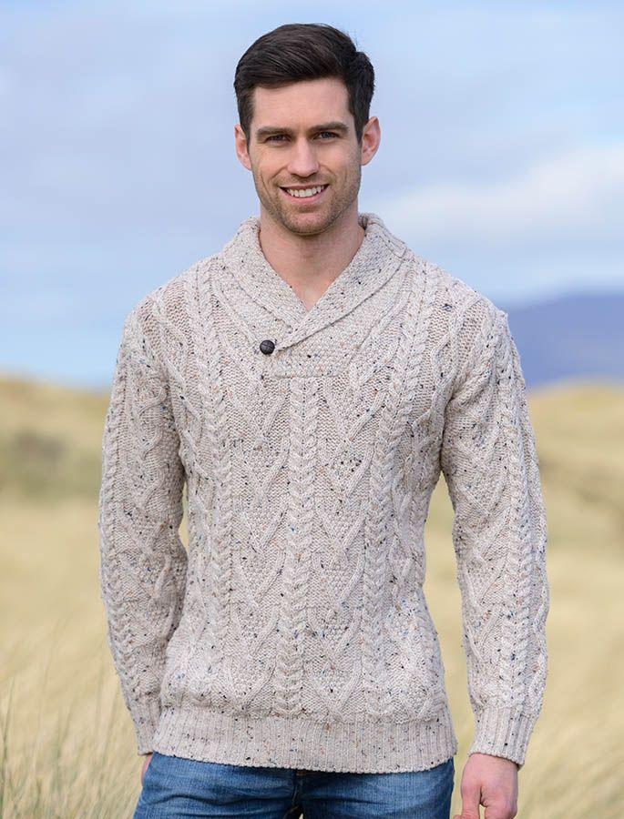 Shawl Neck Sweater - One Button - White