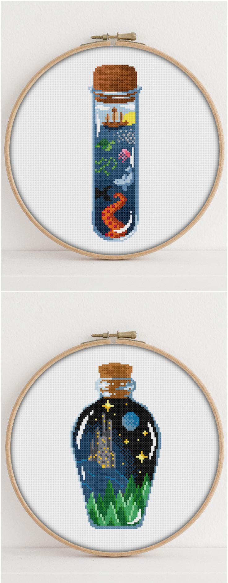Magic Bottle cross stitch - Fairytale - Ocean #crossstitch #crossstitchpattern
