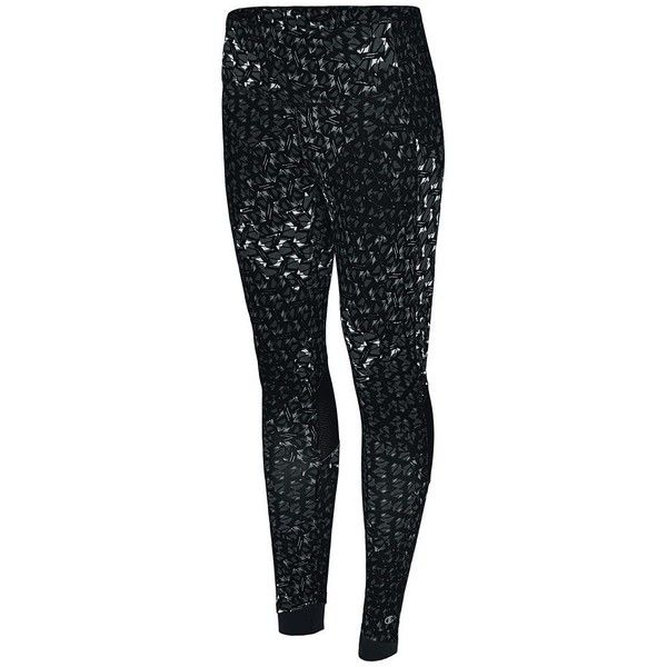 Women's Champion Vapor 6.2 Printed Running Tights ($35) ❤ liked on Polyvore featuring activewear, activewear pants, black, champion sportswear, mini slip and champion activewear