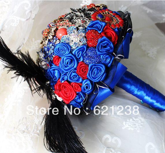 EMS бесплатная доставка, Красный и синий свадьбы невеста с цветами в руках/ювелирные изделия на заказ ручной цветок/ретро суд стиль брошь букет