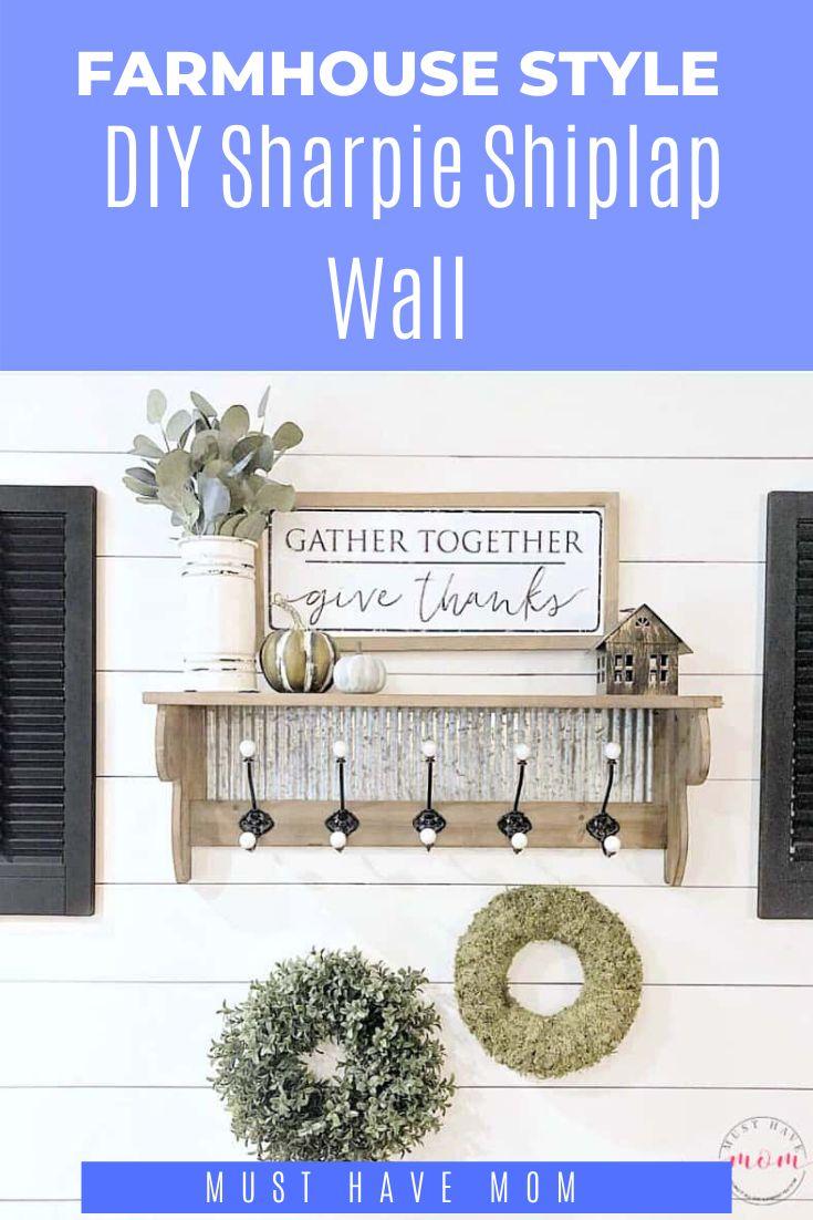 diy shiplap wall with sharpie