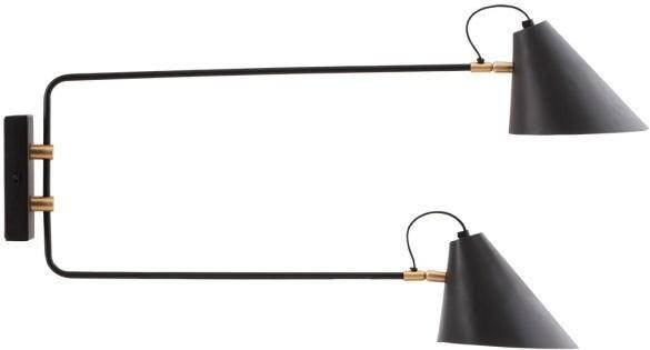 Wandlamp - Club Double - zwart/wit - dia18-20 cmx28 cmx35-55 cm - E27 - max 25 watt - 2.5 m kabel - House Doctor