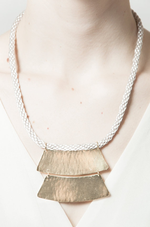 Double Shake Hand Braided Brass Necklace.