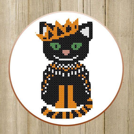PDF. Black Cat Princess Cross Stitch Pattern by SecretFriends