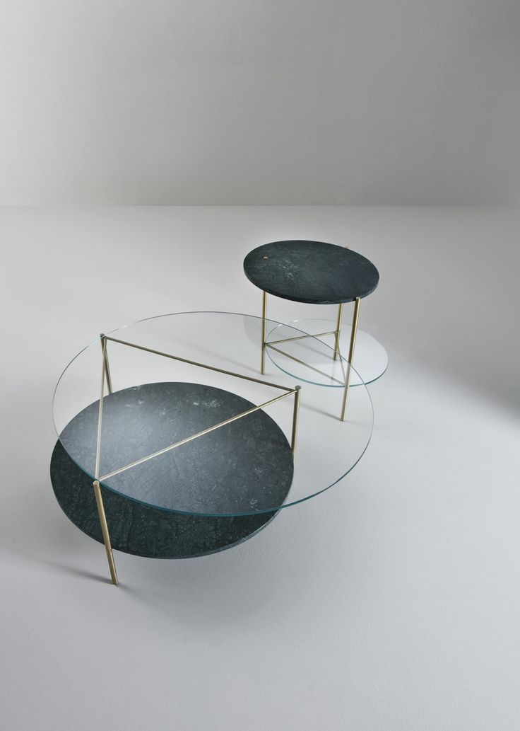 Echo Low Tables by Bartoli Design. A family of three low tables, complementary thanks to their different heights, where a light structure of brushed brass supports heavy and precious materials, such as crystal and marble. | Laurameroni