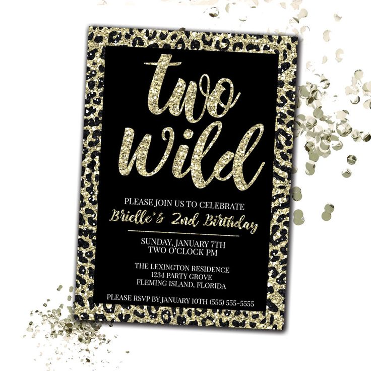 Two Wild Birthday Invitation, Cheetah Print Birthday Invitation, Faux Glitter Invitation, 2nd Birthday Invitation Girl, Printable Invitation by LittleHamCollection on Etsy https://www.etsy.com/listing/482610454/two-wild-birthday-invitation-cheetah