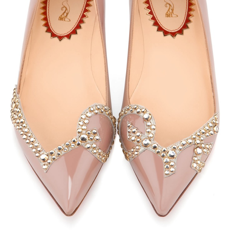 Christian Louboutin. LOVE!! PigaLove Flat Nude Patent/Gold Strass.  $1,595.00 A
