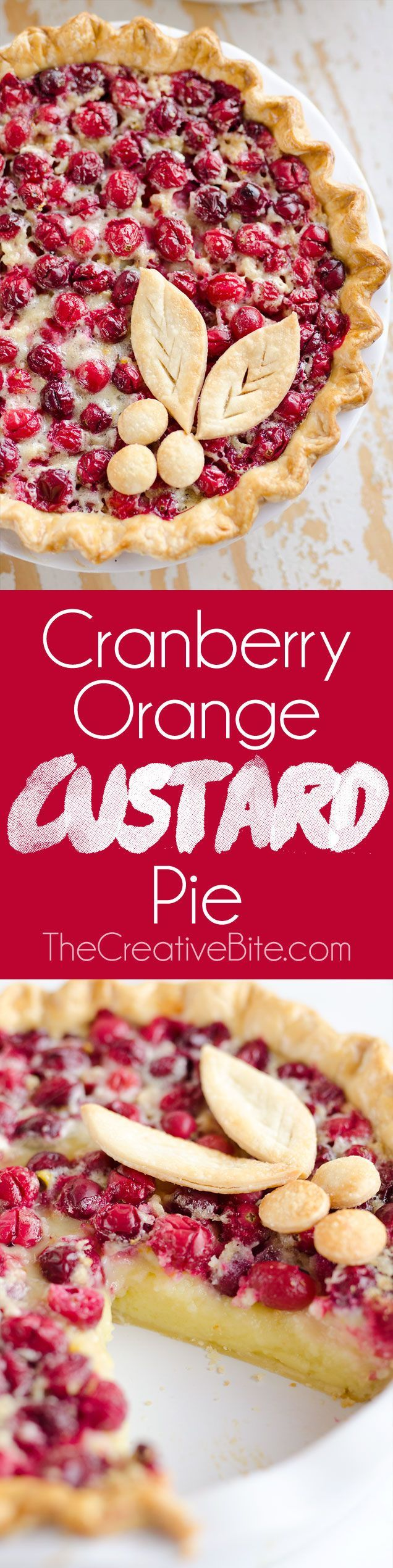 Cranberry Orange Custard Pie is a festive and unique pie to enjoy during the holiday season. A flaky pie crust is filled with silky sweet custard laced with orange zest and tart cranberries for a special dessert. #Cranberry #Dessert #Pie http://www.thecre
