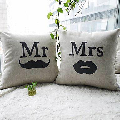 [XmasSale]set van 2 mr.moustache en mrs.lip katoen / linnen decoratieve kussensloop - EUR € 17.18