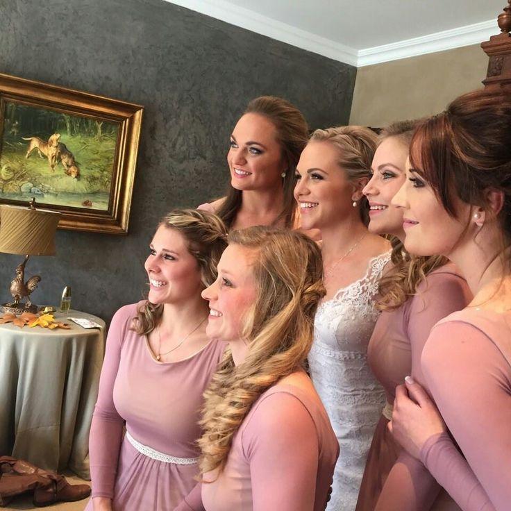 Mauve Bridesmaids dresses long sleeves