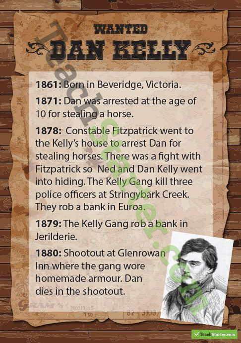 Kelly Gang Wanted Posters - Dan Kelly
