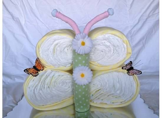 Butterfly Shaped Diaper Cake by BabyBootyDiaperCakes on Etsy, $65.00