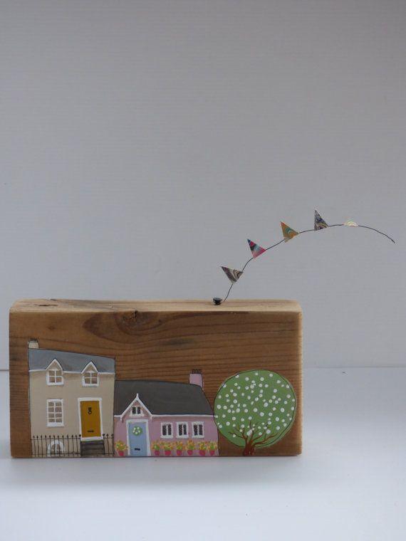 hand painted wooden house miniature buildings unique house warming gift friend present - Unique House Gifts