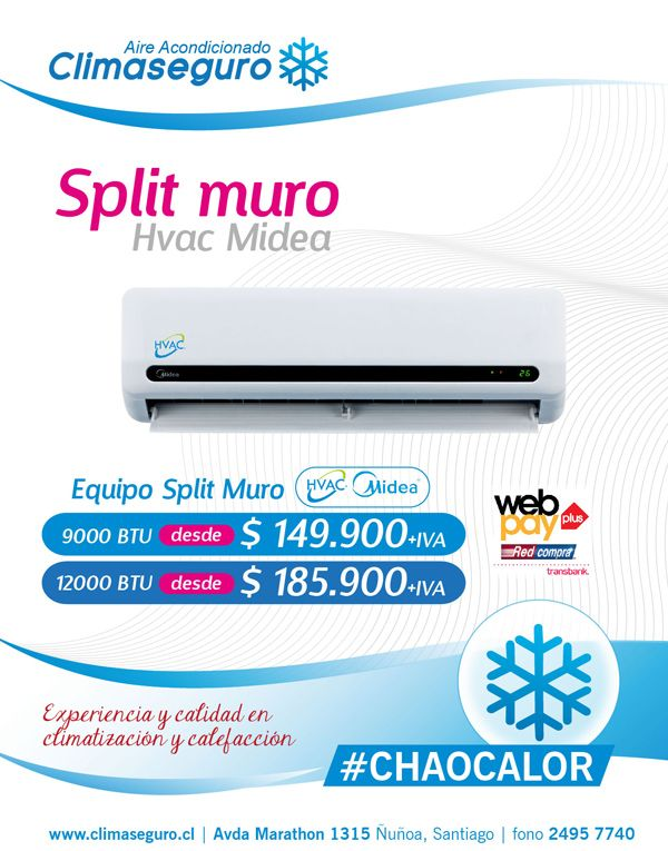 Aire Acondicionado Split Muro HVAC Midea 9000 y 12000 BTU www.climaseguro.cl