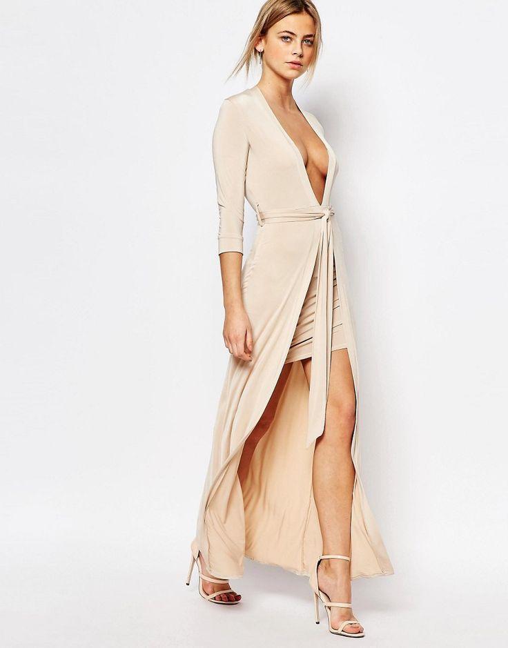 Image 1 of Boohoo Belted Plunge Neck Maxi Dress