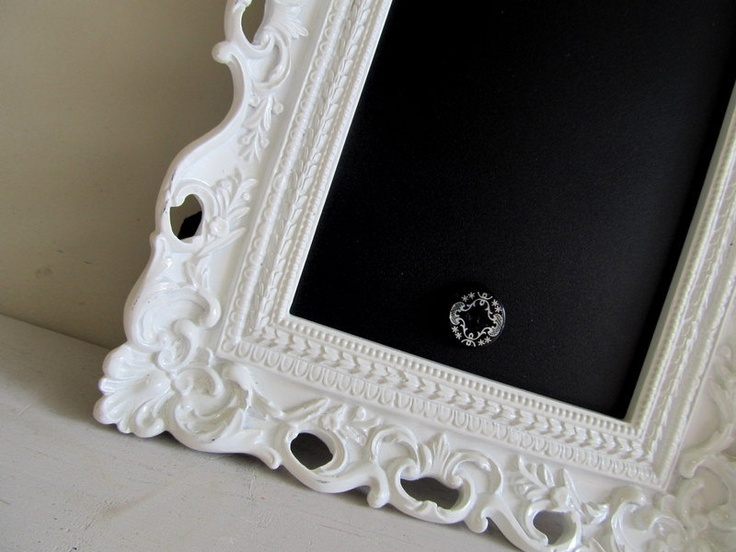 FRAMED CHALKBOARD Magnetic Picture Frame Bridesmade Gift Baby Hostess Gift Housewarming Reminders Ornate White Vintage Style - Any Color. $34.00, via Etsy.