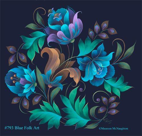 793 blue folk art - Decorative Art