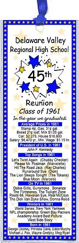 Class Reunion Favors - These unique reunion bookmarks are personalized with your high school name and colors with fun facts from the year you graduated.