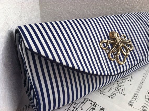 LONG WAIT. Nautical navy blue clutch bag with bronze octopus, striped clutch, bridesmaid clutch, nautical wedding.