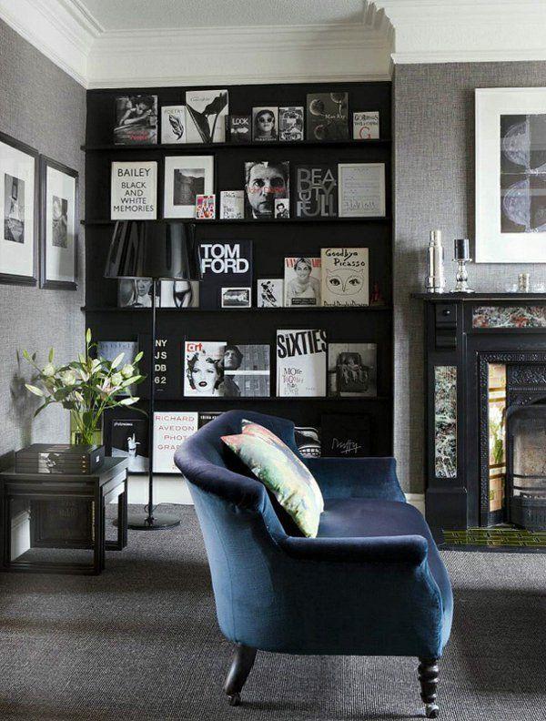 Cores da sala de estar – 22 idéias de decoração com preto   – Möbel