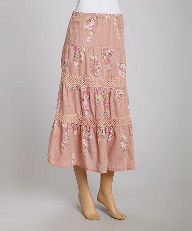 Look at this #zulilyfind! Dusty Pink Floral Crochet Peasant Skirt - Women #zulilyfinds