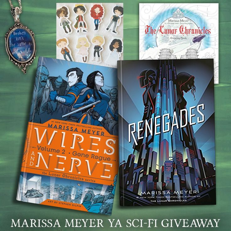 "Get swept up in Marissa Meyer's stories of thrilling futures with this YA sci-fi giveaway! One lucky reader will win a pre-order of her upcoming novel Renegades and of the second Wire and Nerves graphic novel, the Lunar Chronicles coloring book, a Cinder necklace (with the quote ""Broken isn't the same as unfixable""), and a set of Lunar Chronicles magnetic bookmarks featuring all of the couples. Open worldwide (see rules for details)! This giveaway is sponsored by YA authors Audrey Grey…"