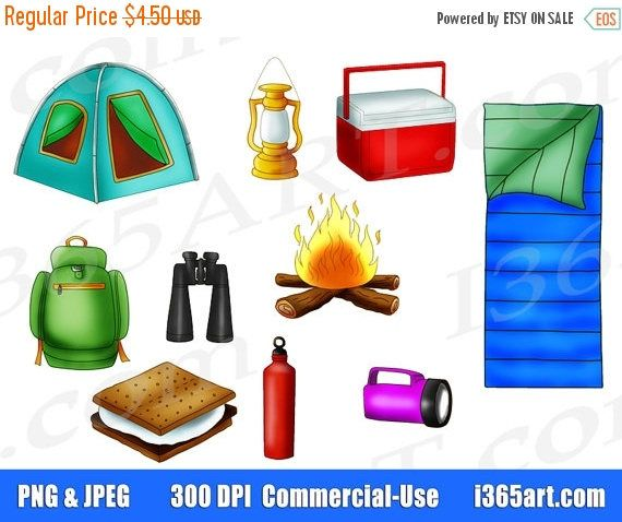 50 OFF Camping Clipart Set Clip Art Outdoor Graphics Scrapbooking
