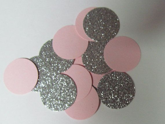 100  Pink  and Silver Glitter Confetti Princess Birthday Party or Baby Shower  by KhloesKustomKreation, $6.50