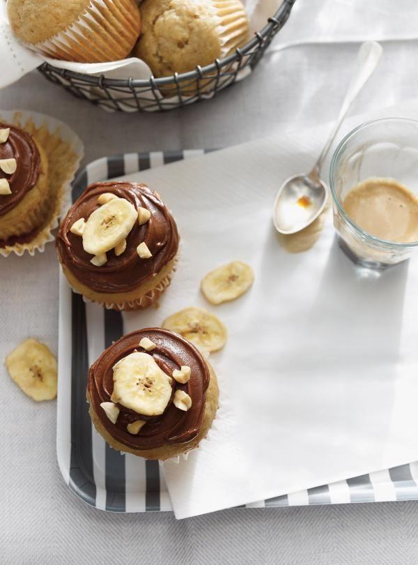 Recette de Ricardo de Muffins aux bananes, glaçage choco-arachide