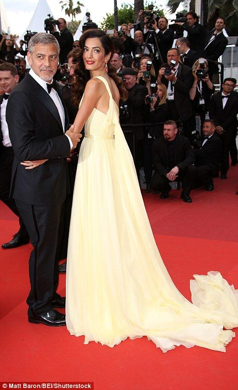 Amal Clooney struggles to walk Cannes Film Festival red carpet with husband George at Money Monster premiere | Daily Mail Online