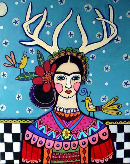 Frida Kahlo Deer Antlers Mexican Folk Art  by HeatherGallerArt, $24.00