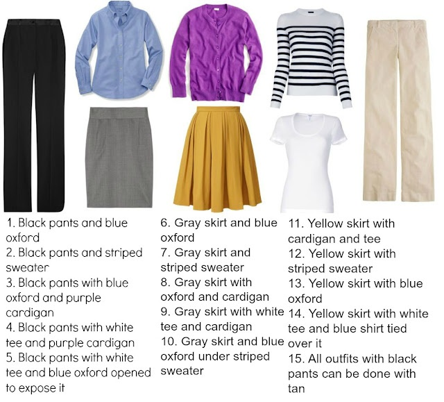 A sample capsule wardrobe of simple pieces: how you can create over 20 different business casual outfits from just eight pieces of clothing.  Every outfit works with black pumps or flats.