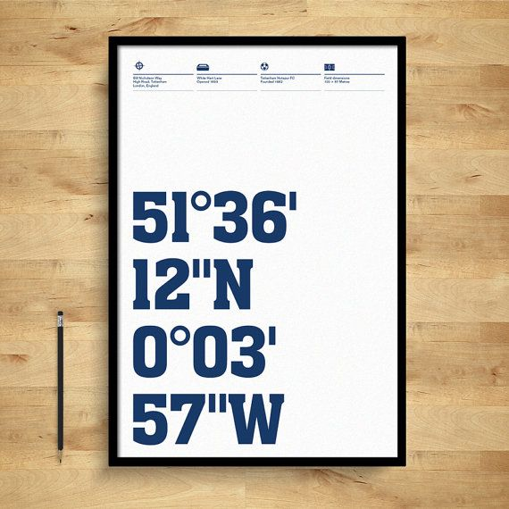 Tottenham Hotspur Posters Stadium Coordinates by DINKIT on Etsy