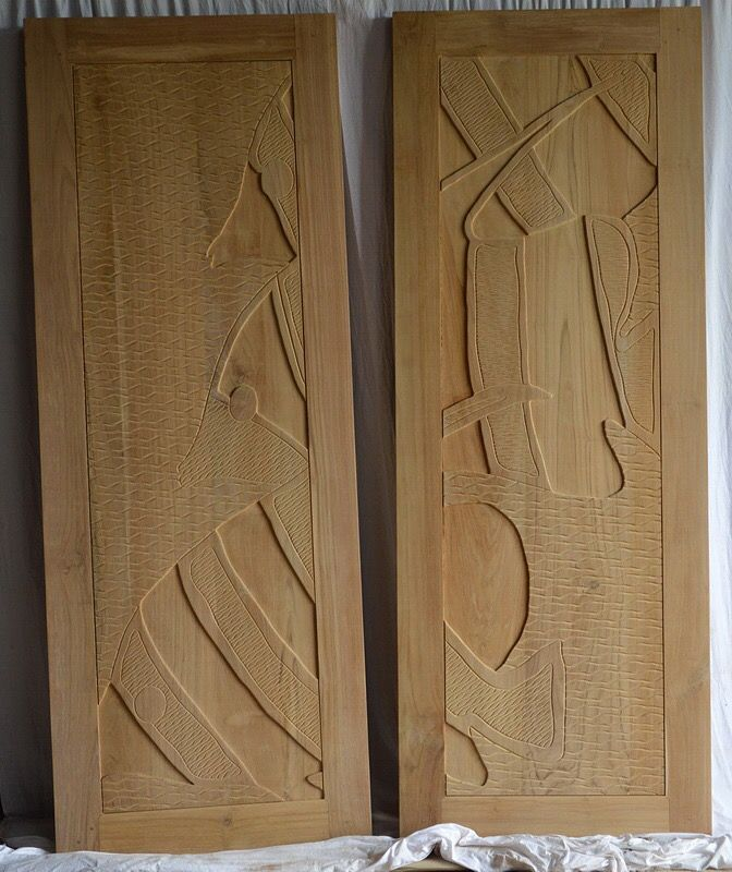 Carved Door. Teak wood grade A. Thickness 5 cm.